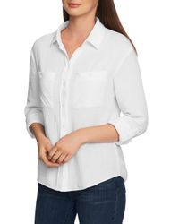 1.STATE White Textured Roll Sleeve Top