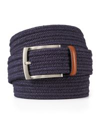 Bloomingdale's Blue Stretch Braided Belt for men