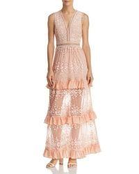 Aqua - Pink Vine Embroidered Maxi Dress - Lyst