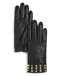 Aqua Black Studded Leather Tech Gloves