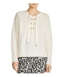 Maje - White Manou Lace-up Detail Sweater - Lyst