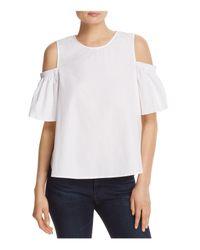 Soloiste White Cold-shoulder Cotton Shirt