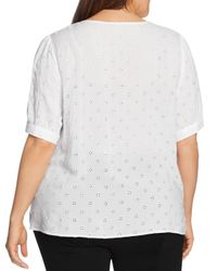 Vince Camuto Signature White Elbow - Sleeve Eyelet Top