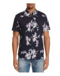 Insight Black Fuji Bamboo Print Slim Fit Button-down Shirt for men
