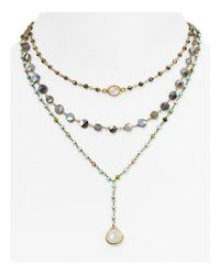 "Ela Rae | Metallic Triple Layered Pendant Necklace. 14"" | Lyst"