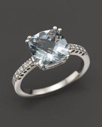 Bloomingdale's - Blue 14k White Gold Aquamarine Cushion Ring - Lyst