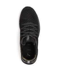 PUMA Black Men's Ignite Limitless Netfit Knit Lace Up Sneakers for men