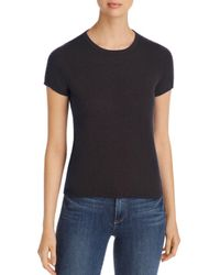 C By Bloomingdale's Black Short - Sleeve Cashmere Sweater