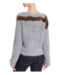 Guess Gray Textured Animal Intarsia Sweater
