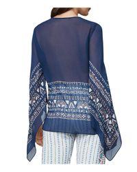 BCBGMAXAZRIA - Blue Kasia Handkerchief-sleeve Silk Chiffon Wrap Top - Lyst