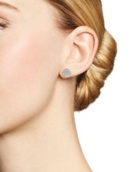 Adina Reyter Metallic 14k Yellow Gold Pavé Diamond Large Disc Stud Earrings