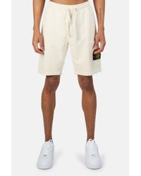 Stone Island White Garment Dyed Fleece Cargo Shorts for men