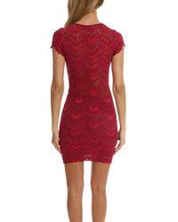 Nightcap - Red Spanish Deep V Cap Sleeve Dress - Lyst