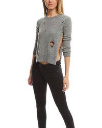 R13 Gray Shrunken Distressed Sweater