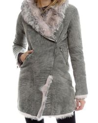 Giorgio Brato Gray Hooded Shearling Coat