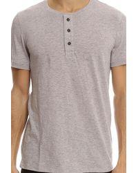 Vince - Gray S/s Henley for Men - Lyst