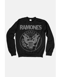 MadeWorn Black Ramones Silver Glitter Sweatshirt Sweater
