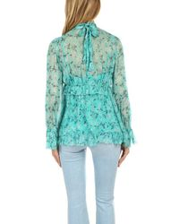 Zimmermann Blue Moncur Gathered Frill Top Turquoise Mini Bloom