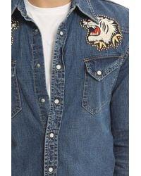 Remi Relief Blue Denim Western Shirt (emb + Studs) for men