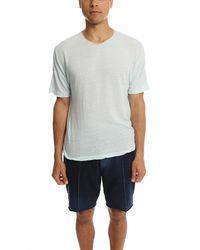 V :: Room Blue Short Sleeve Henley Highsoft Melange Light Mint for men