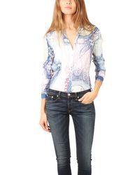 Acne | Blue Shining Bills Long Sleeve Button Down Shirt | Lyst
