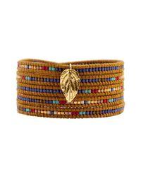 Chan Luu | Metallic Mix Seed Bead Bracelet On Henna Leather With Gold Leaf | Lyst