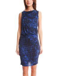 Helmut Lang   Blue Crossover Drape Dress   Lyst