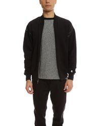 Todd Snyder | Black Faux Leather Cut Out Zip Bomber for Men | Lyst