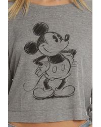 David Lerner - Gray Mickey Sketch Crop Rib Ls - Lyst