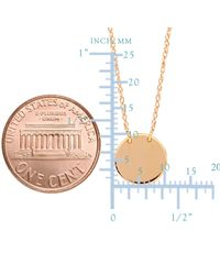 "JewelryAffairs - Metallic 14k Rose Gold Mini Engravable Disk Pendant Necklace, 16"" To 18"" Adjustable - Lyst"