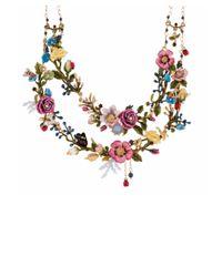 Les Nereides - Multicolor Oriental Rose Bouquet Of An Oriental Garden Two Roughs Couture Necklace - Lyst