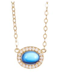 Adornia - Blue Yellow Gold Vermeil And Swarovski Crystal Oval Halo Necklace - Lyst
