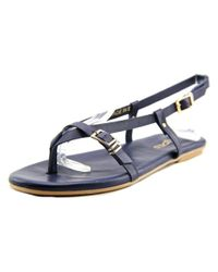 J/Slides - Blue Capri Women Open Toe Leather Thong Sandal - Lyst