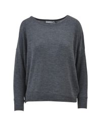Vince - Gray Women's Grey Cotton Sweater - Lyst