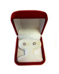 JewelryAffairs - White Sterling Silver Rhodium Finish Round Bezel Set Cubic Zirconia Stud Earring - Lyst
