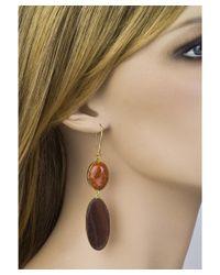 Jewelista - Brown 18k Vermeil Fire Agate Earrings - Lyst
