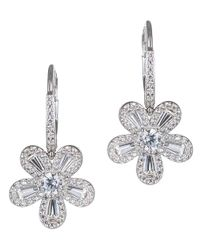 CZ by Kenneth Jay Lane | Metallic 6cttw Cz Lever Baguette Flower Earring | Lyst