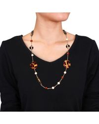 Catherine Malandrino - Brown Gemstone And Leopard Bead Necklace - Lyst