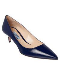 Prada - Blue 45 Saffiano Pointy-toe Pump - Lyst