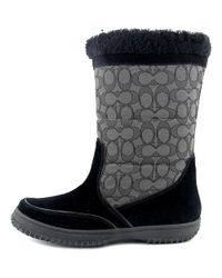 COACH - Black Womens Sherman Sig Suede/sig Closed Toe Mid-calf Cold Weather Boots - Lyst