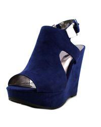 d37d0e420326 Carlos By Carlos Santana. Malor 2 Women Open Toe Canvas Blue Wedge Sandal