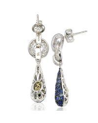 Suzy Levian - Metallic Sterling Silver Sapphire And Diamond Accent Tear Drop Dangle Earrings - Lyst
