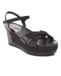 Prada - Women's Patent Leather Platform Sandal Shoes Black - Lyst