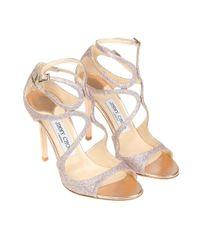 Jimmy Choo - Metallic Women's Silver Polyester Sandals - Lyst