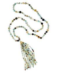 Kenneth Jay Lane | Metallic 22k Plated Amazonite Tassel 36in Necklace | Lyst