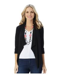 Patchington - Black Destination Collection - Ruched Sleeve Tuxedo Cardigan - Lyst
