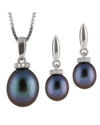 Splendid - Blue Fancy Sterling Silver 2 Piece Freshwater Pearl Set With Matching Pendant And Earrings - Lyst