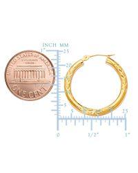 JewelryAffairs - 10k Yellow Gold Diamond Cut Design Round Shape Hoop Earrings, Diameter 20mm - Lyst