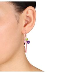 Catherine Malandrino - Pink 18k Rose Gold Plated Cluster Hoop Earrings - Lyst