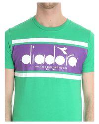 Diadora - Men's Green Cotton T-shirt for Men - Lyst
